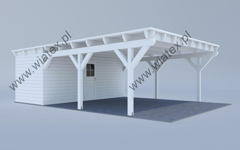 wiata drewniana na 2 auta - biała wiata garażowa