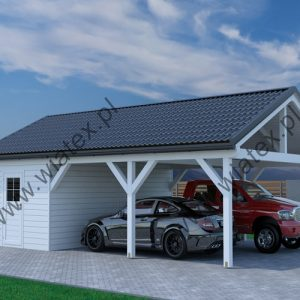 wiata drewniana z dachem dwuspadowym